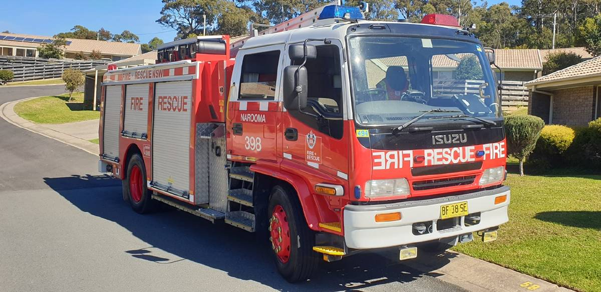 A solar panel on a shed exploded causing a fire. Photo: Narooma Fire and Rescue
