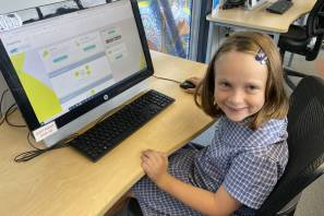 STUDY BUDDY: Moruya Public School year 6 student Ruby Southan checks out Studiosity, a free online study initiative of Eurobodalla Libraries.
