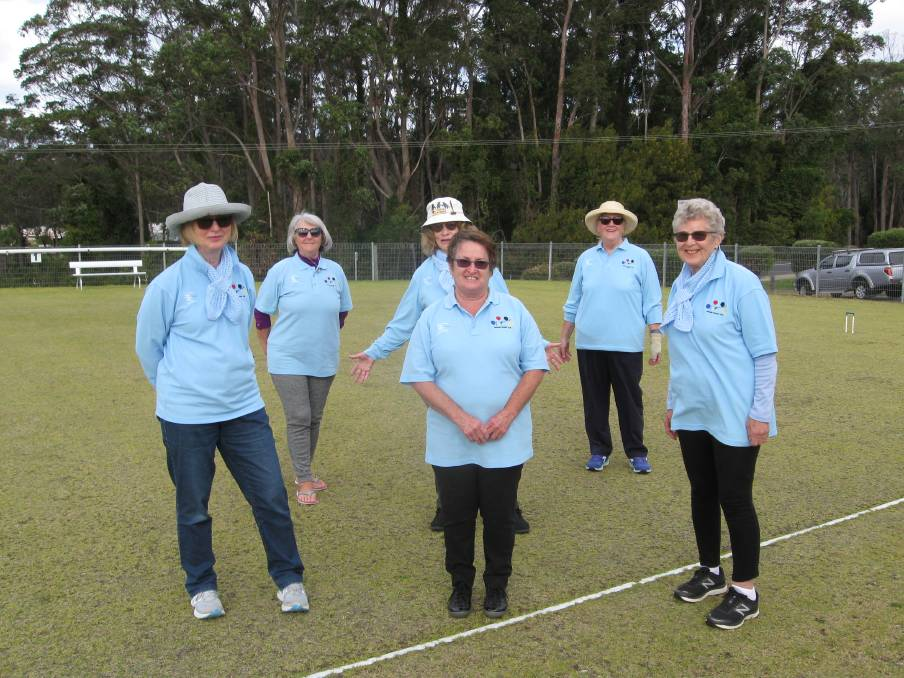 Croquet club: Members of the Narooma Croquet Club looking very smart in their new uniforms. Picture: Supplied.