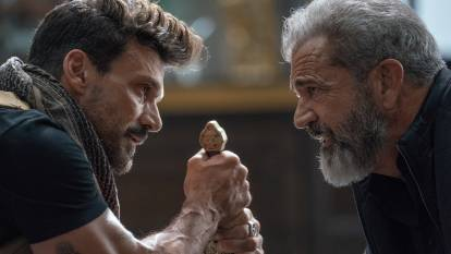 Frank Grillo, left and Mel Gibson in Boss Level. Picture: Icon