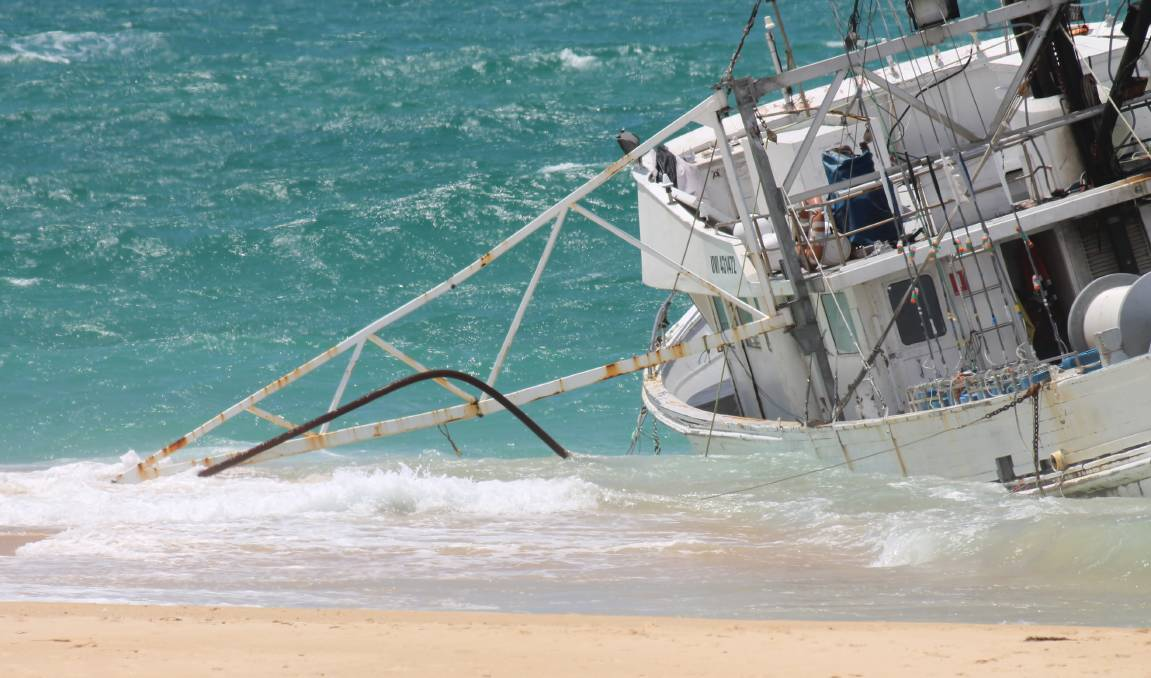 The fishing boat washed ashore at Haywards Beach, just north of Bermagui.