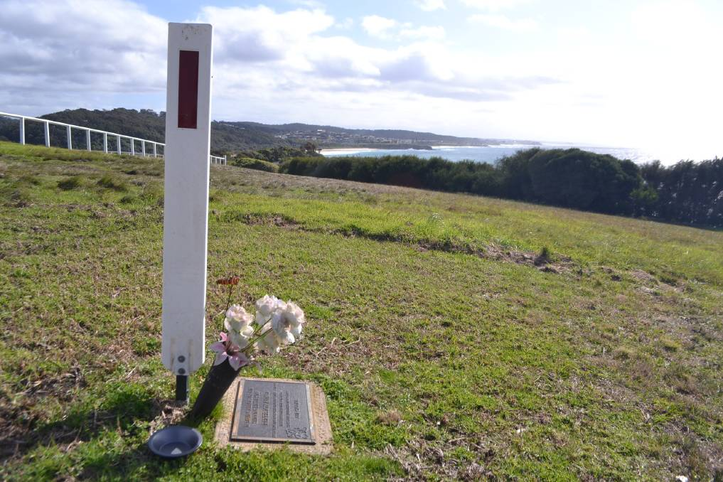 The memorial to Renee Aitkin in the form of a plaque on the Narooma headland.