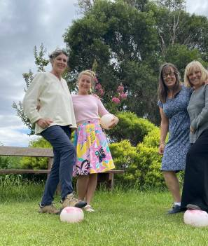 Zoe Morgan, Emily Dannock, Jennifer Wilden and Romney Carvan are keen to give walking soccer a go on Tuesday evenings at the Moruya basketball stadium.