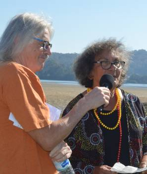 MC Tim Bourke with Auntie Vivienne Mason as she gives the 'Welcome to Country' at the Narooma Oyster Festival on Saturday.